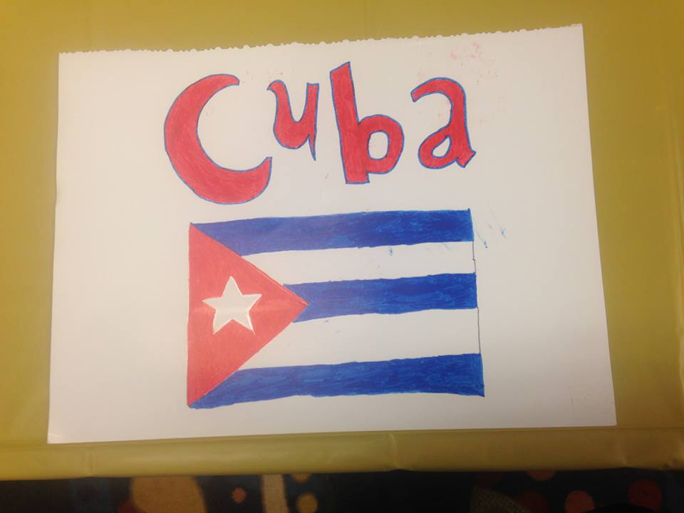 Cuba was represented at the international student celebration. A picture of the flag is presented here.
