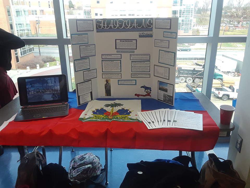 A picture of the Haitian table at the Nursing Cultural Fair.