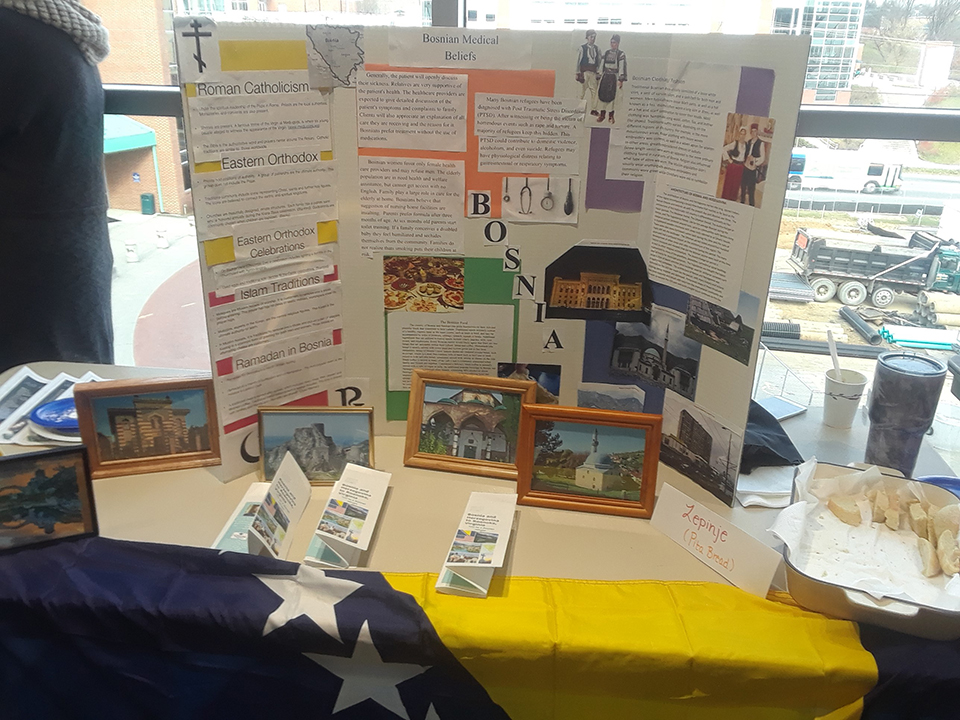 A picture of the Bosnia table at the Nursing Cultural Fair.