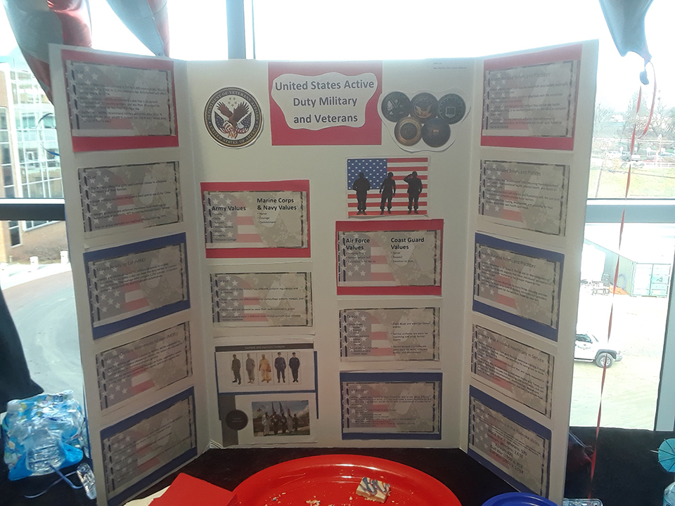 The United States Active Duty Military and Veterans were represented at a table at the Nursing Cultural Fair.