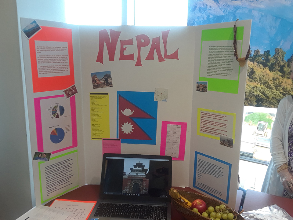 A picture of the Nepal table at the Nursing Cultural Fair.