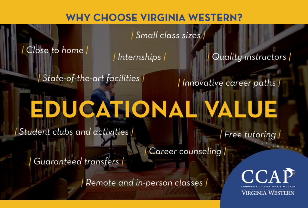 A display of reasons to choose Virginia Western, primarily Educational Value