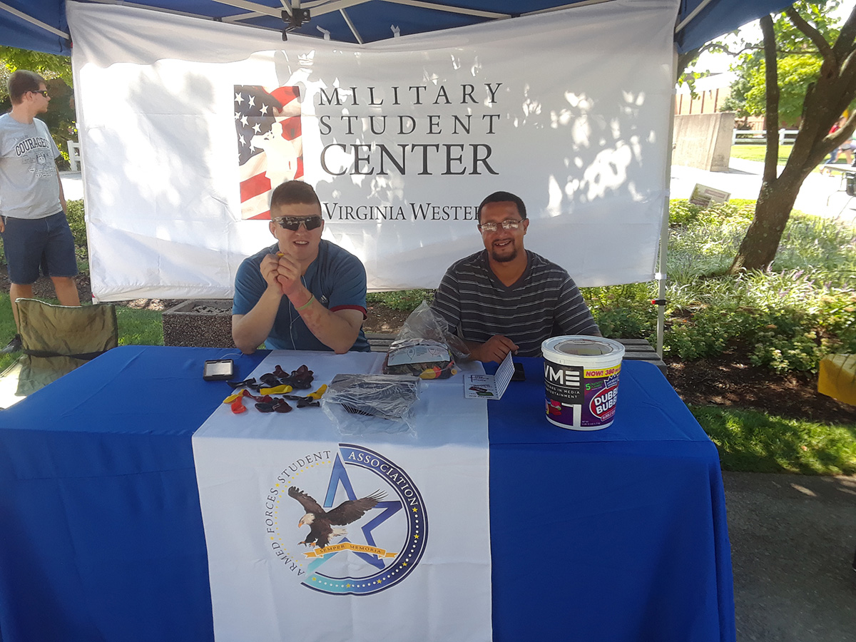 Military Student Center table at the VWCC Welcome Back Event.