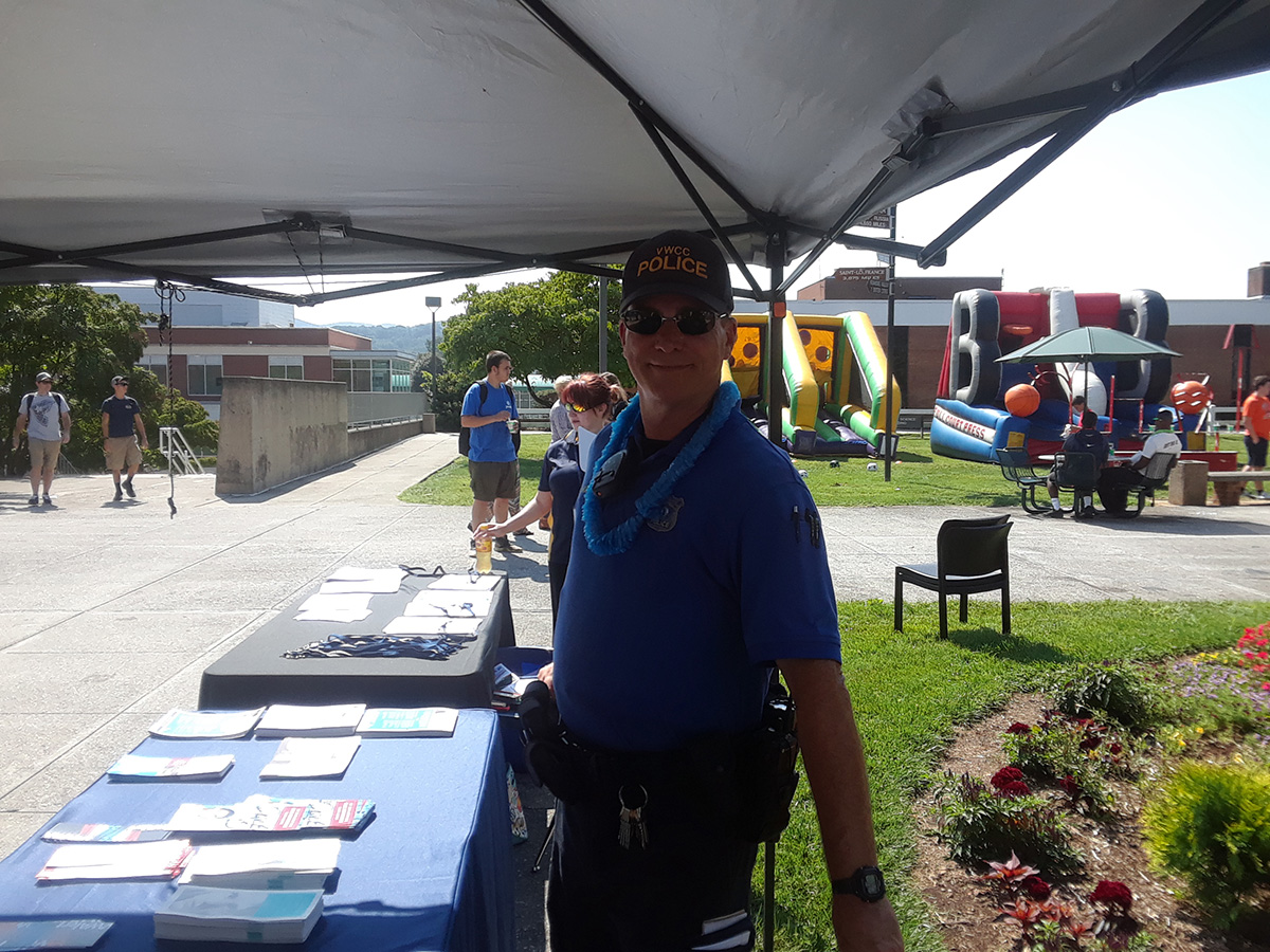 Campus Police table at the VWCC Welcome Back Event.