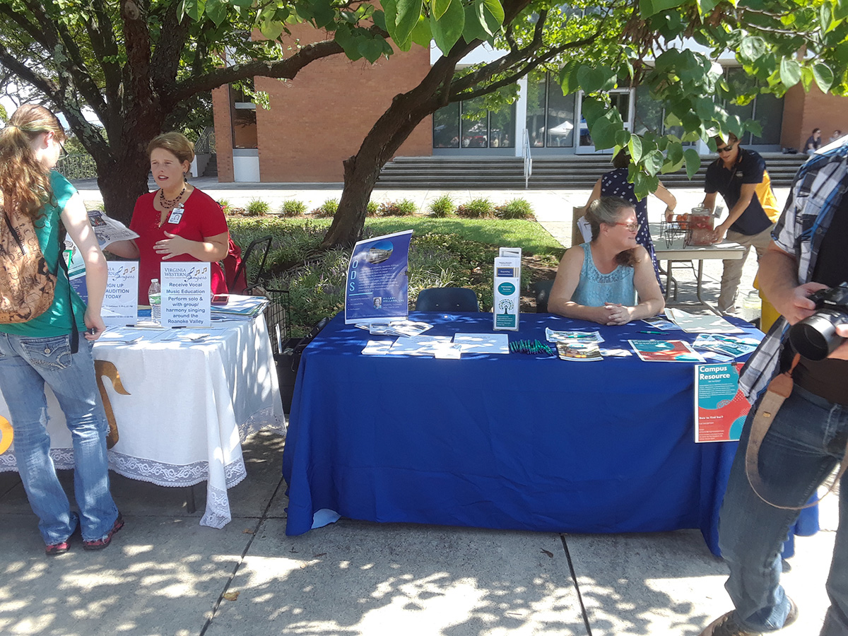 Virginia Western Singers and The Office of Disability Services have information to share with students at the Welcome Back Event.