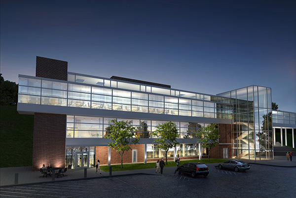 Rendering of Student Life Center at Night