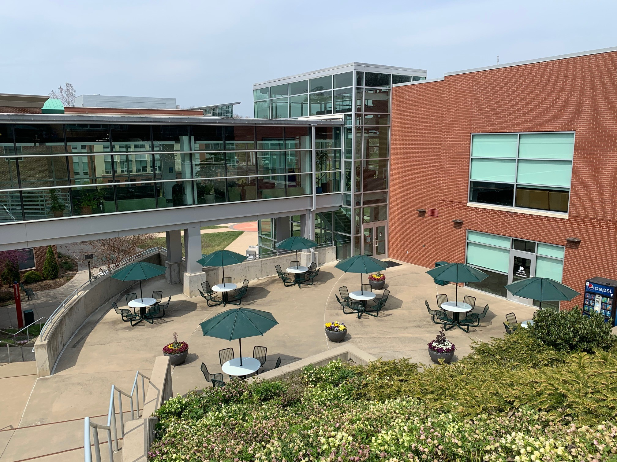 View of Student Life Center Patio