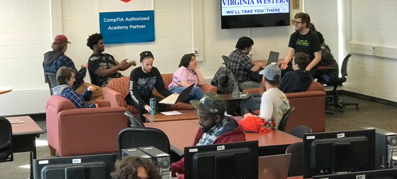 Computer Science and Information Technology students gather to study in the Center for Cybersecurity Education at Virginia Western